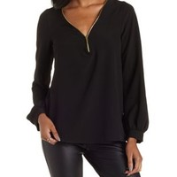 Black Zipper-Trim Deep V Tunic Top by Charlotte Russe