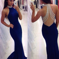 Luxurious Royal Blue Mermaid Prom Dresses Long 2017 Halter Brilliant Crystals Sheer Back Sweep Train Party Gowns Vestido De Gala