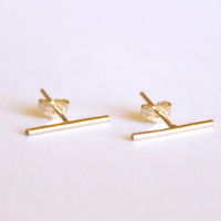 Long Thin Line Earrings -  14k Gold Fill or Sterling Silver - Line Posts - Parallel Lines - Simple Gold Earrings - Delicate Minimalist