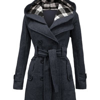 Hooded Double-Breasted Long Sleeve Worsted Coat