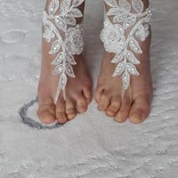 wedding shoes,summer shoes,costume shoes,barefoot sandals,Beaded, ivory  lace  shoes, wedding sandals,bridal accessories, free shipping!