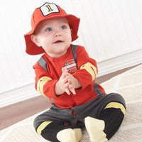 Baby Firefighter Two-Piece Layette Set in Firefighter-themed Gift Box - Whimsical & Unique Gift Ideas for the Coolest Gift Givers