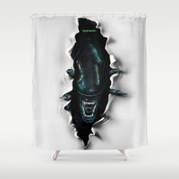 ...end of transmission.-* Shower Curtain by Emiliano Morciano (Ateyo)