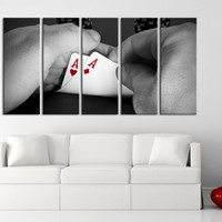 Poker Card Large Canvas Art Print for Home Decoration, Ready Hanging, Great Print, Game of Poker Card Gray and Red