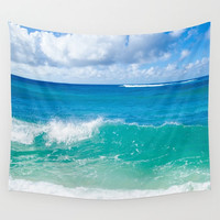 Tropical beach Wall Tapestry, ocean wall tapestry, blue, turquoise, sea, Hawaiian, wall hanging decor, grommets, 26x36, 50x59, 88x104 Inch
