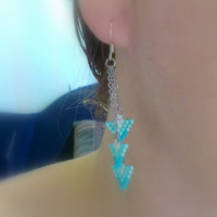 Beaded Turquoise Dangle Earrings-Seed Bead Delica Triangles-Triangle Turquoise Beadwoven Earrings-Turquoise Holiday Gift For Her