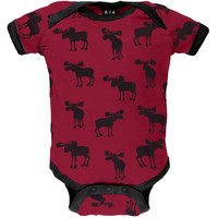 Moose Silhouette All-Over Baby One Piece