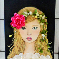 Girl Portrait- Pink Flower- Mixed Media- Painting on Canvas- Girls Room Decor- 11X14 inches.