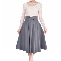 Pinup Lovely Office Lady Gray High Waist Swing Full Circle Skirt