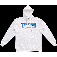 Thrasher Outlined Hoody Sweater XL ash Grey Blue Red Skateboard