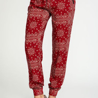 Red Bandana Zip Jogger Pants - LoveCulture