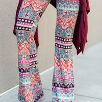Cher Printed Flare Pants - Coral Boho Stripe