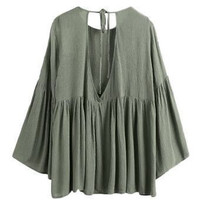 Gray Loose Pleated Blouse