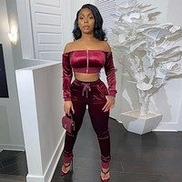 Women Sexy Fashion Two Piece Off The Shoulder Crop Top Pant Set