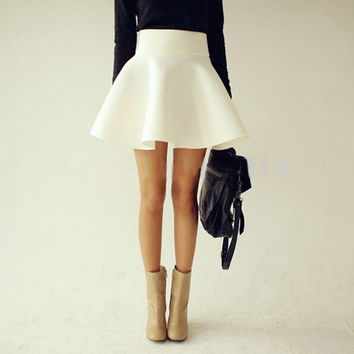 Summer Autumn Big Plus Size Women White Vintage Ladies  High Waist Flared Puff Skirt Mini Skirts = 1946206276