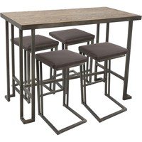 Roman 5pc Industrial Counter Height Dining Set, Antique & Brown