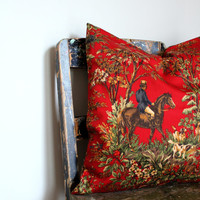 Vintage style Ralph Lauren Hunting scene print, red, cream, red, gold, green, horse and dog hunting cushion, designer decor, lumber pillow