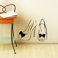 Wall Decal Fashion Women's Shoes Girl Heels Beauty Salon Wall Decals For Store Styles Interior for Shoe Shopping Stickers Home Decor 3922
