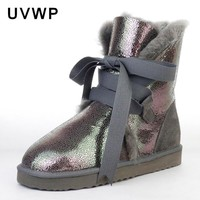 Top Quality Genuine Sheepskin Leather Woman Snow Boots Fashion Waterproof Winter Boots 100% Natural Fur Warm Wool Women Boots