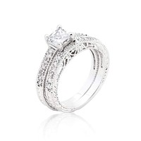 Princess Cut Filigree Bridal Ring Set JGI