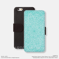 Blue Mandala Floral iPhone Samsung Galaxy leather wallet case cover 797