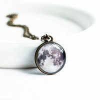 Full moon necklace, space jewelry
