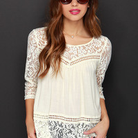 Cute Rules Everything Around Me Cream Lace Top
