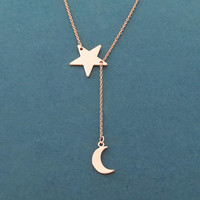 Moon and Star, Lariat, Rose gold, Necklace, Birthday, Best friends, Sister, Gift, Jewelry