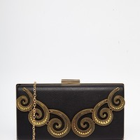 Chi Chi Box Clutch with Gold Swirl Embroidery