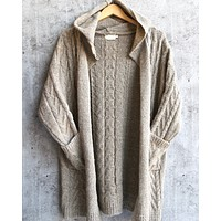 Final Sale - Dreamers - Knit Open Cardigan With Hoodie in Mocha