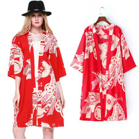 Red Ethnic Floral Print Open Front Kimono