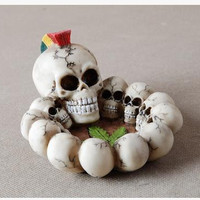 creative gift resin material skull ashtray delicate white opaque combining multiple skull ashtray free shipping