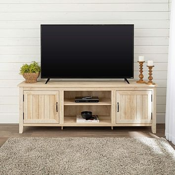 """Walker Edison Furniture Company Modern Farmhouse Grooved Wood Stand with Cabinet Doors for TV's up to 80"""" Living Room Storage Shelves Entertainment Center, 70 Inch, White Oak 70 Inch TV Stand"""