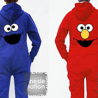 COOKIE MONSTER & ELMO Onesuit Nation All in One Sesame Street Hoodie Top T shirt