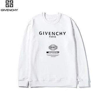 Givenchy 2019 new printed letter cotton pullover long sleeve sweater white