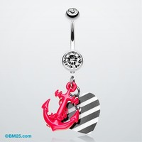 Vibrant Anchor Nautical Heart Belly Ring
