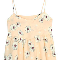 ROMWE Straps Flouncing Backless Floral Print Apricot-yellow Vest
