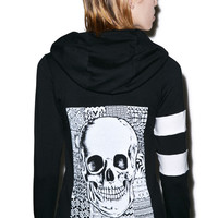 Lauren Moshi Beth Skull Zip up Hoodie Black/White