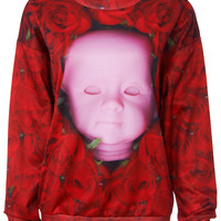 ROMWE | Roses & Doll's Head Print Sweatshirt, The Latest Street Fashion