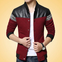 Leather Patchwork Men's Coat Casual Male Jacket = 1782392516