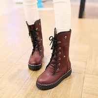 Fashion Women Ankle Boots for Autumn and Winter New Arrival Lace Up Fur Lining 8353