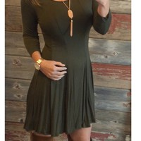 We Both Know Tunic Dress: Olive