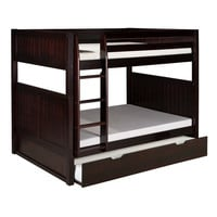 Solid Wood Full over Full Bunk Bed with Twin size Trundle Bed in Cappuccino