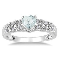 Sterling Silver, Aquamarine, and Diamond Heart Ring (0.05 cttw, G-H Color, I2-I3 Clarity)