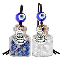 Lucky Happy Buddha Small Car Charms or Home Decor Bottles Quartz Lapis Lazuli Protection Amulets