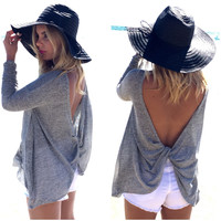 Twisted Fate Knit Top In Grey