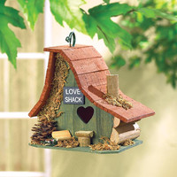 Heart Shaped Love Shack Cottage Collectors Village Eucalyptus Wood Birdhouse