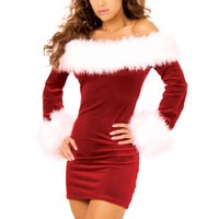Vintage Autumn Velvet Dresses Sexy off shoulder Christmas Costumes Adult women Santa Claus Cosplay Christmas Party Fancy Dress