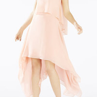 Black/Pink BCBG Marilee Draped Tiered Gown