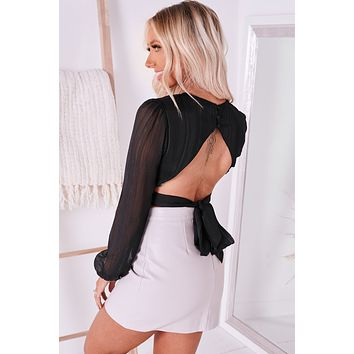Rise To The Top Open Back Crop Top (Black)